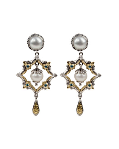 Thalia Pearl & Blue Spinel Dangle Earrings