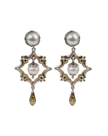 Konstantino Thalia Pearl & Blue Spinel Dangle Earrings