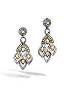 John Hardy Naga Silver Chandelier Earrings w/ 18k