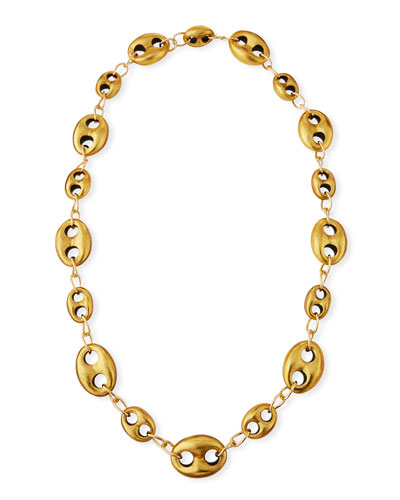 Marine Open-Link Golden Foil Chain Necklace