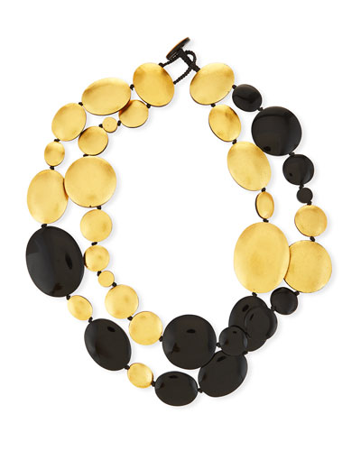 Double-Strand Disc Necklace, Black/Golden