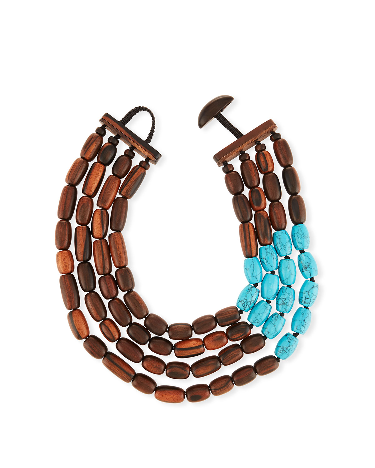 Four-Strand Statement Necklace w/ Wood & Turquoise