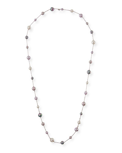 Multihued Manmade Pearl Chain Necklace, 43