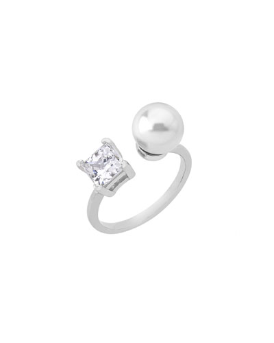 9mm Manmade Pearl & Cubic Zirconia Ring