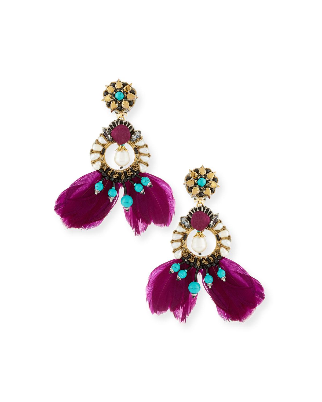 Meriti Feather Drop Clip-On Earrings