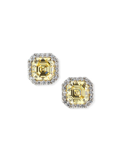 Quick Look Fantasia By Deserio Canary Cubic Zirconia Stud Earrings