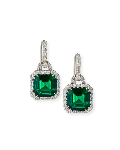 Emerald Cubic Zirconia Drop Earrings