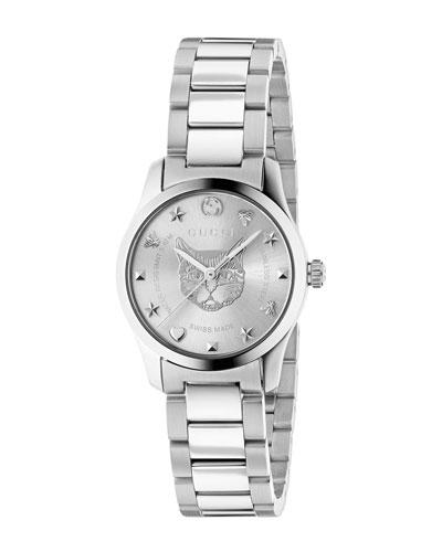 27mm G-Timeless Bracelet Watch w/ Feline Motif, Steel