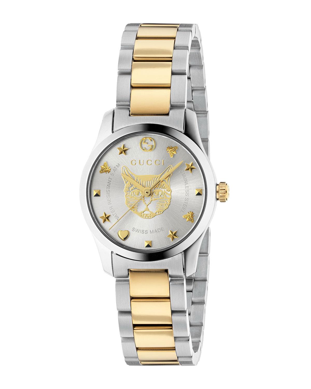 27mm G-Timeless Bracelet Watch w/ Feline Motif
