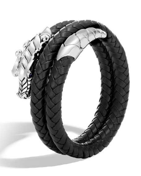 John Hardy Legends Naga Double Coil Leather Bracelet