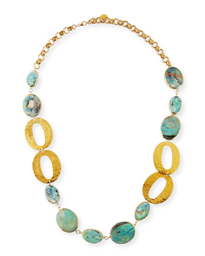 Turquoise & Oval Link Necklace