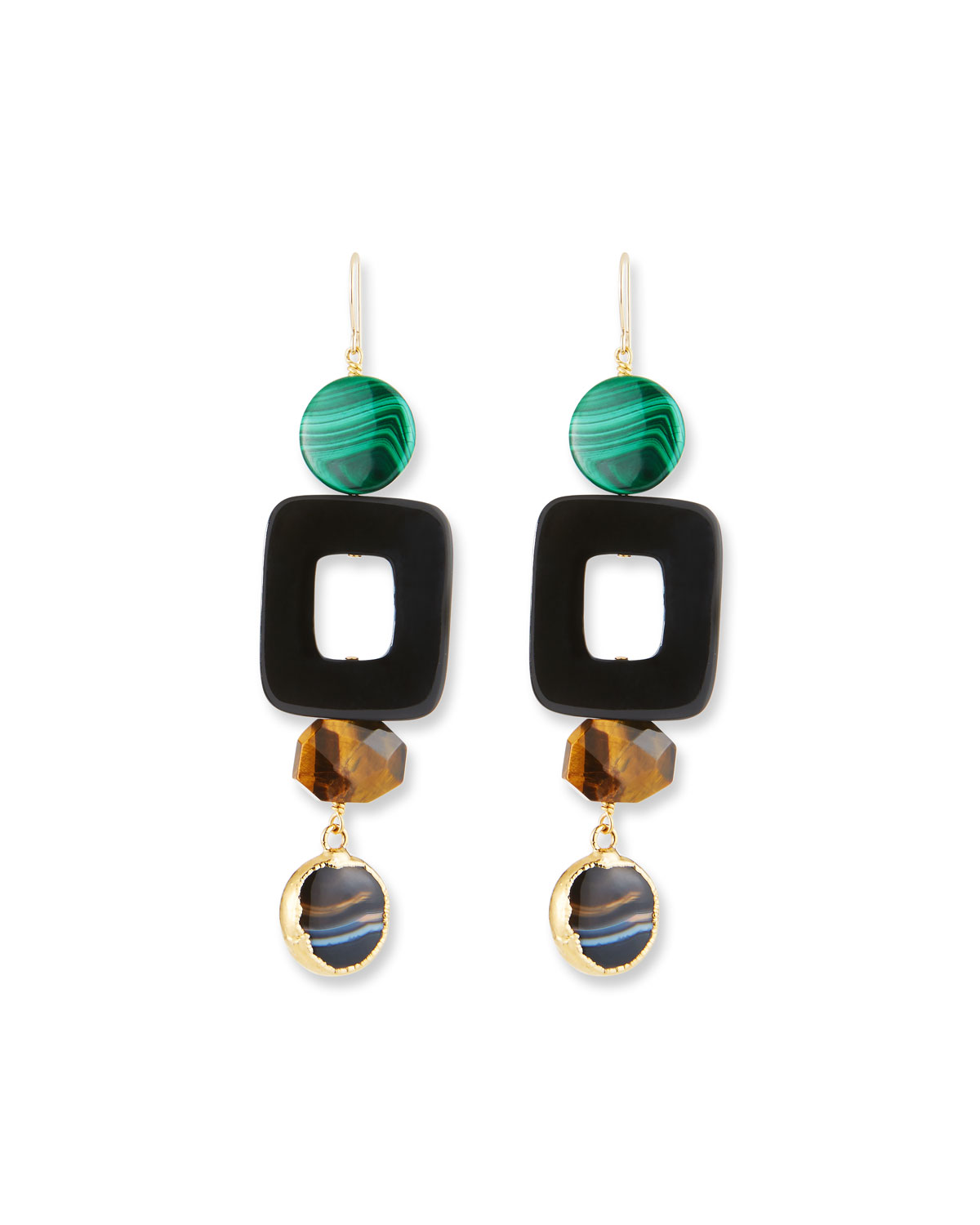 African Horn, Tiger Eye & Malachite Drop Earrings