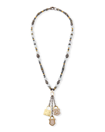 Hipchik Christie Pearl & Hematite Lock Necklace