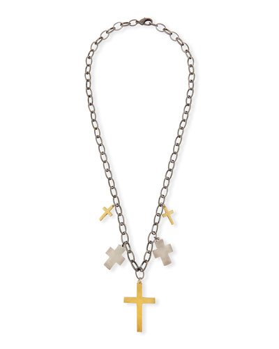 Iman Multi-Cross Pendant Necklace