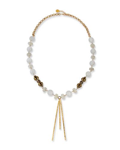 Moonstone & Selenite Spike Drop Necklace