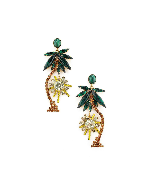 Pamela Palm Tree Dangle Earrings