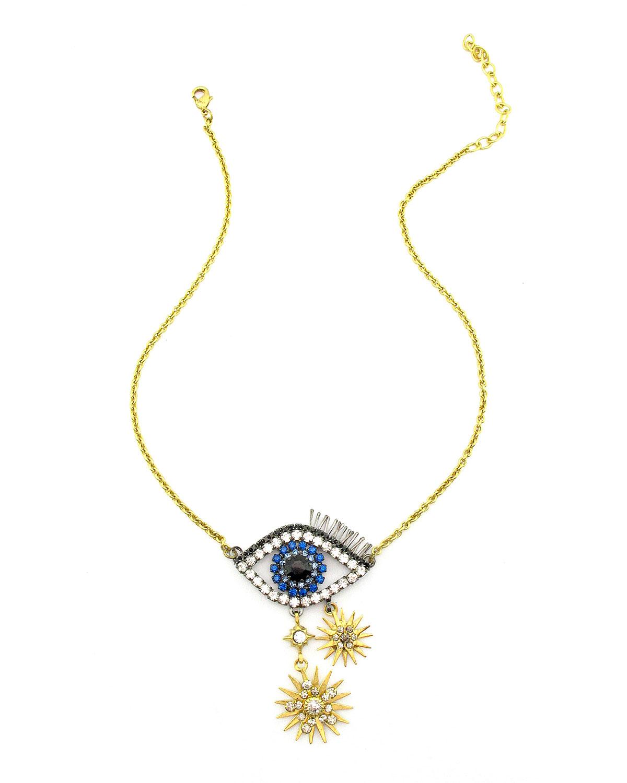 Ravana Crystal Eye Pendant Necklace