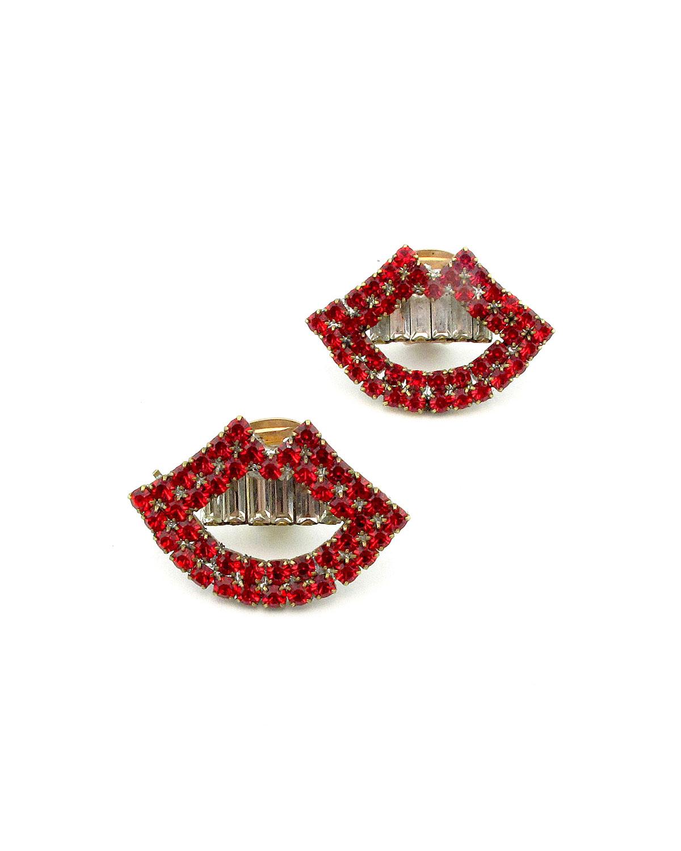 Swift Crystal Lip Clip-On Earrings