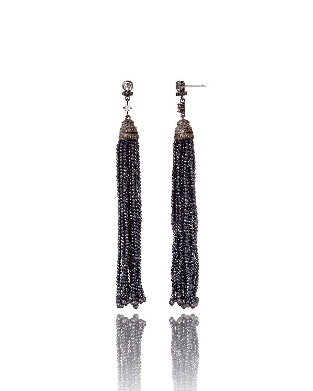 White Topaz & Spinel Tassel Drop Earrings