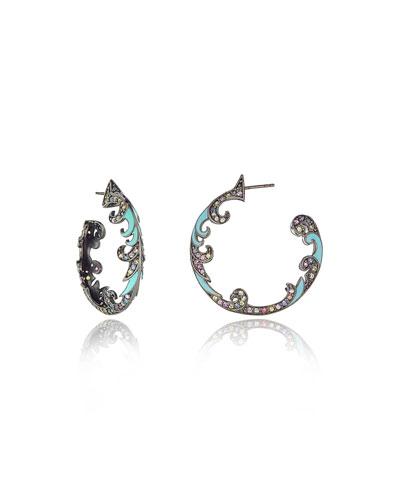 Turquoise & Sapphire Hoop Earrings