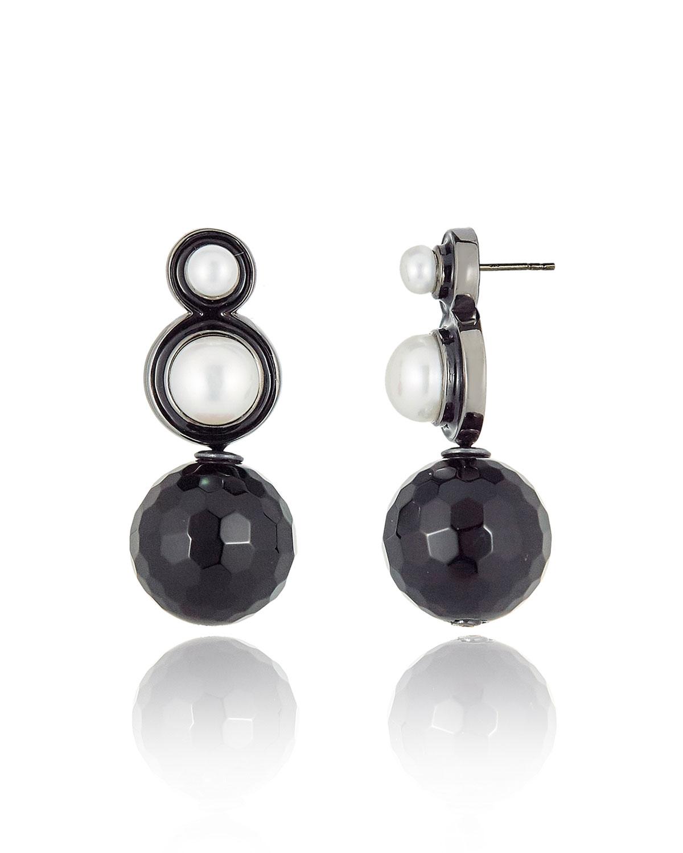 Double Pearl & Onyx Drop Earrings