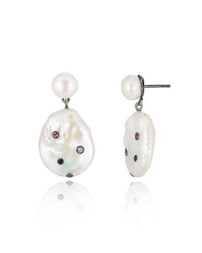 Pearl & Sapphire Dangle Earrings
