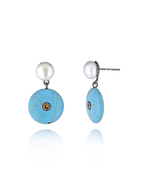 Pearl & Turquoise Dangle Earrings