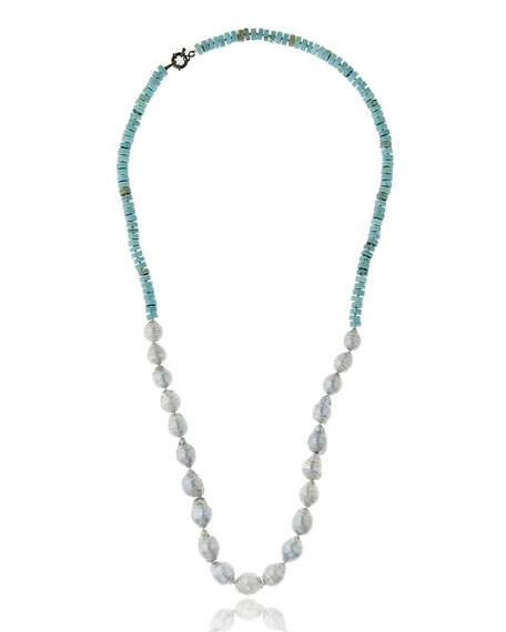 M.C.L. by Matthew Campbell Laurenza Half Turquoise & Baroque Pearl Necklace