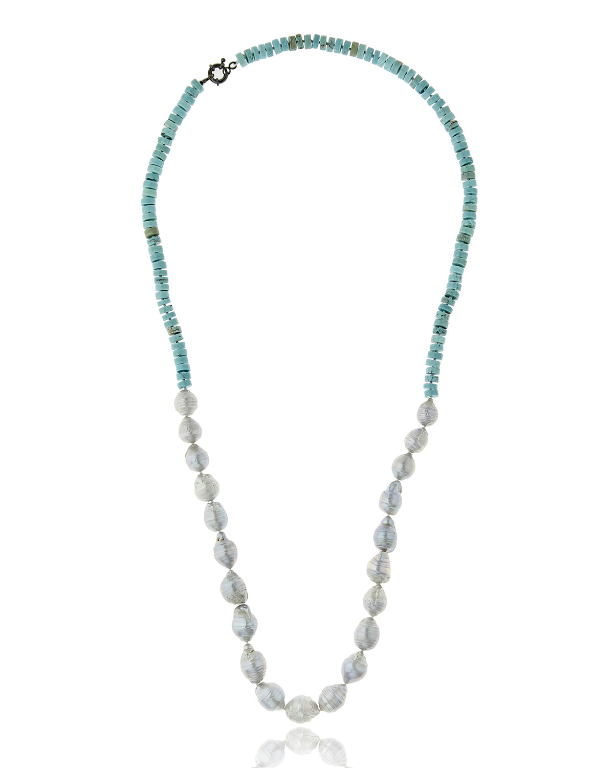 Half Turquoise & Baroque Pearl Necklace