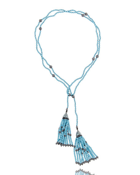 M.C.L. by Matthew Campbell Laurenza Turquoise & Hematite Tassel Wrap Necklace