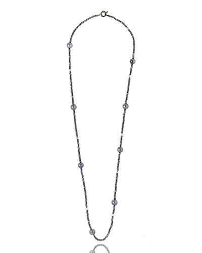 Single-Strand Hematite & Pearl Necklace