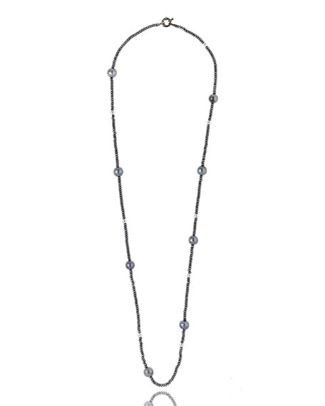 M.C.L. by Matthew Campbell Laurenza Single-Strand Hematite & Pearl Necklace