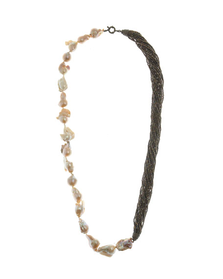 M.C.L. by Matthew Campbell Laurenza Half Baroque Pearl & Spinel Necklace