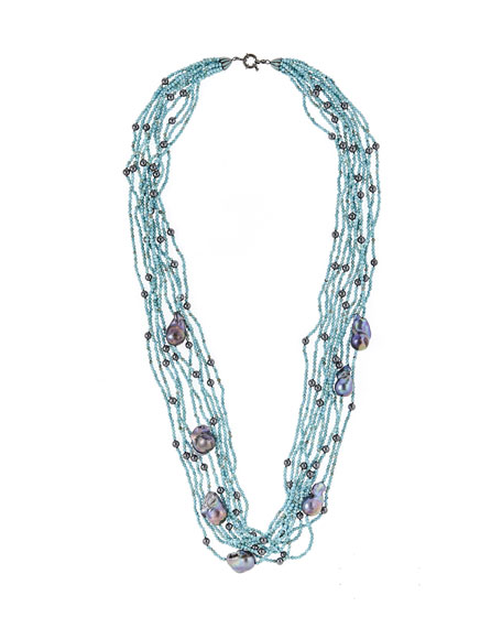 M.C.L. by Matthew Campbell Laurenza Baroque Pearl & Turquoise Hematite Multi-Strand Necklace