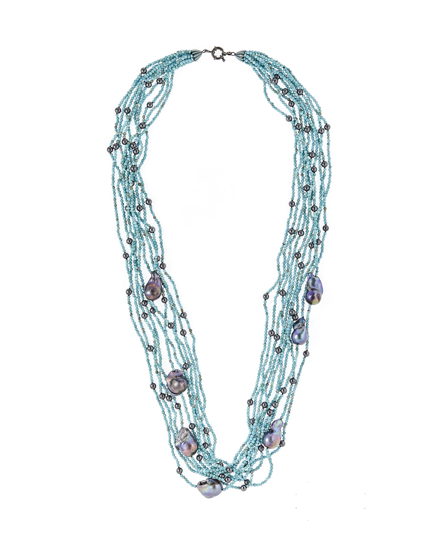 Baroque Pearl & Turquoise Hematite Multi-Strand Necklace