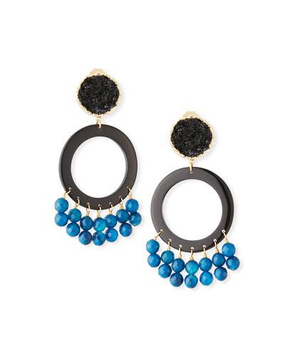 Peacock Circle Agate Clip-On Earrings