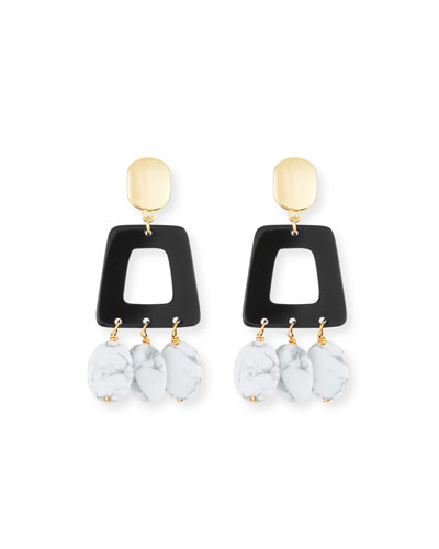 Howlite & Horn Drop Earrings