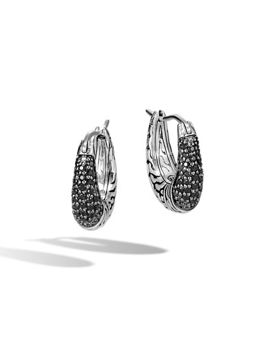 Classic Chain Arch Hoop Earrings w/ Black Sapphire & Spinel