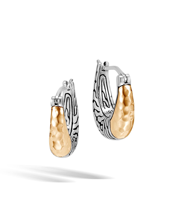 John Hardy Classic Chain Arch Hoop Earrings w/ 18k Gold