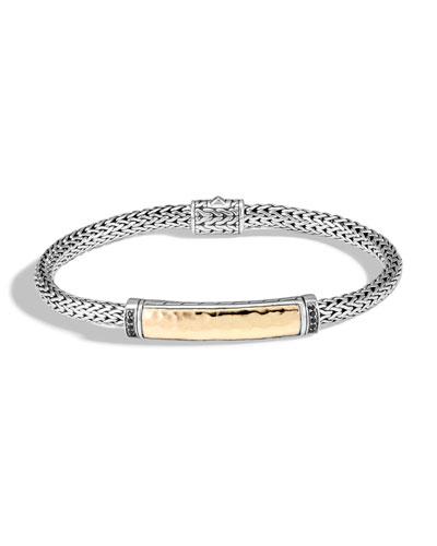 Classic Chain Bracelet w/ 18k Gold & Black Sapphire