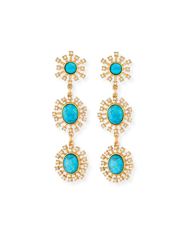 Turquoise Triple-Drop Earrings