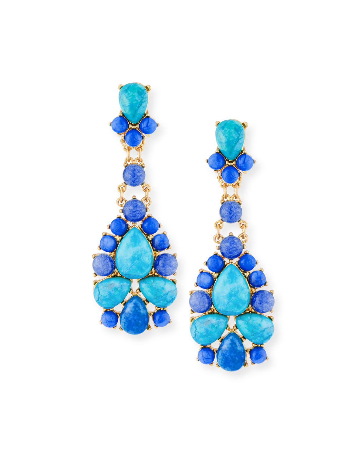 Turquoise & Agate Statement Earrings
