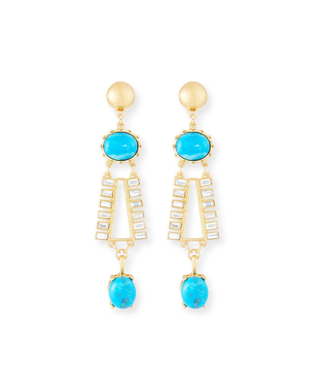 Turquoise & Crystal Dangle Earrings