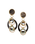 Akola Black Horn & Abalone Earrings