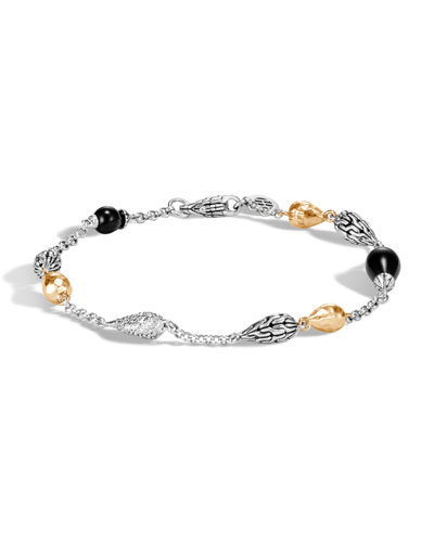 Classic Chain Droplet Bracelet w/ 18k Gold & Diamonds