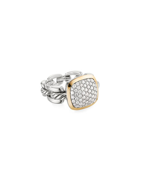 David Yurman Wellesley Link Diamond & 18k Gold Ring