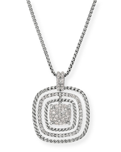 Chatelaine Silver Diamond Pave Pendant Necklace