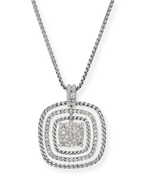 David Yurman Chatelaine Silver Diamond Pave Pendant Necklace