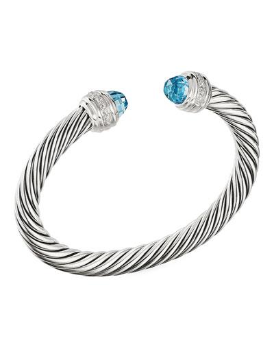 Cable Bracelet w/ Diamonds & Topaz