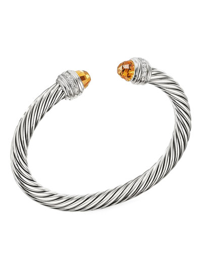 Cable Bracelet w/ Diamonds & Citrine